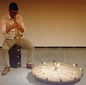 Adrián López        'Artefacto Nº4 con melodía circular'        90 x 90 x 16